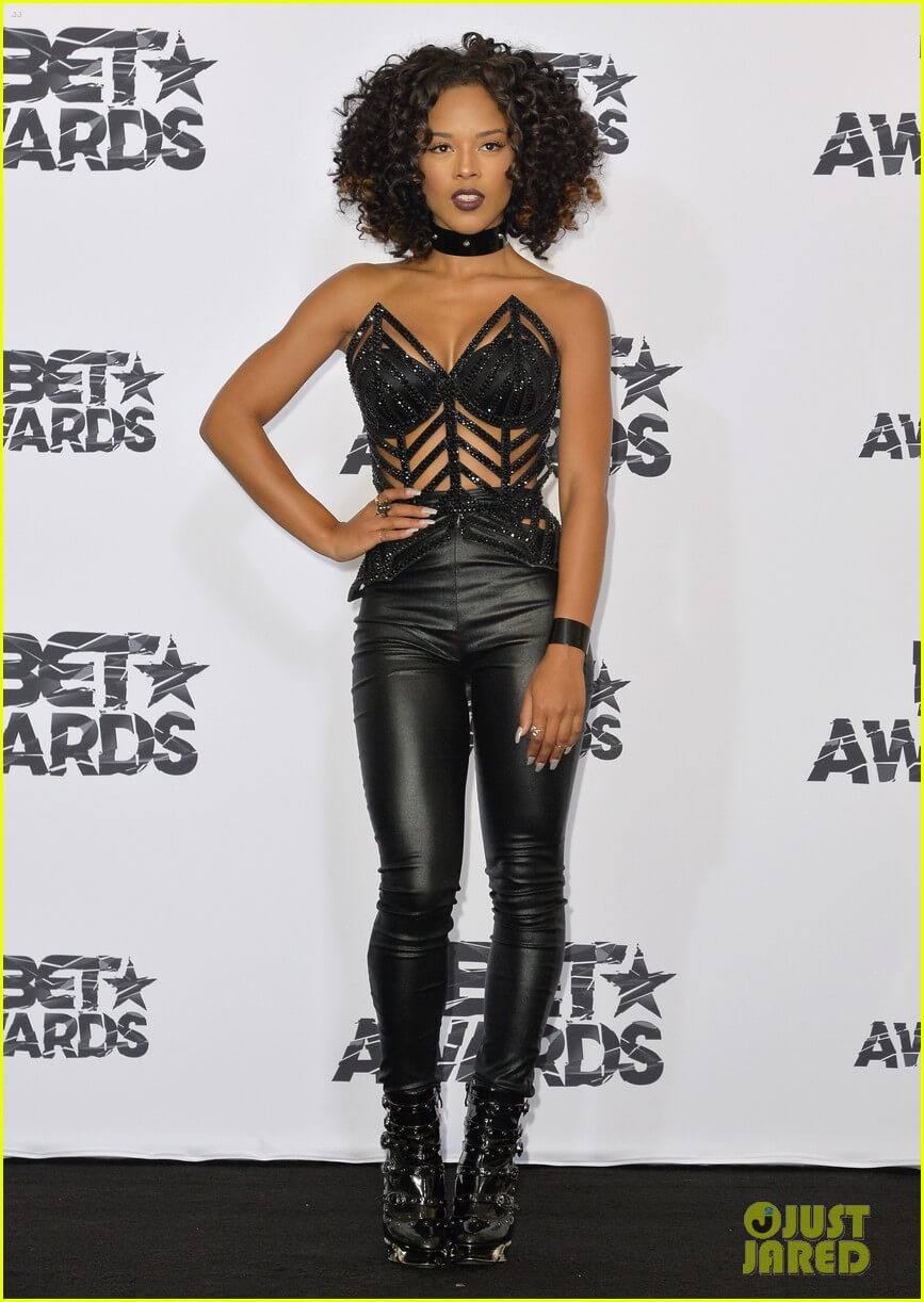 LOS ANGELES, CA - JUNE 28:  Actress/singer Serayah poses in the press room during the 2015 BET Awards at the Microsoft Theater on June 28, 2015 in Los Angeles, California.  (Photo by Earl Gibson III/Getty Images for BET)